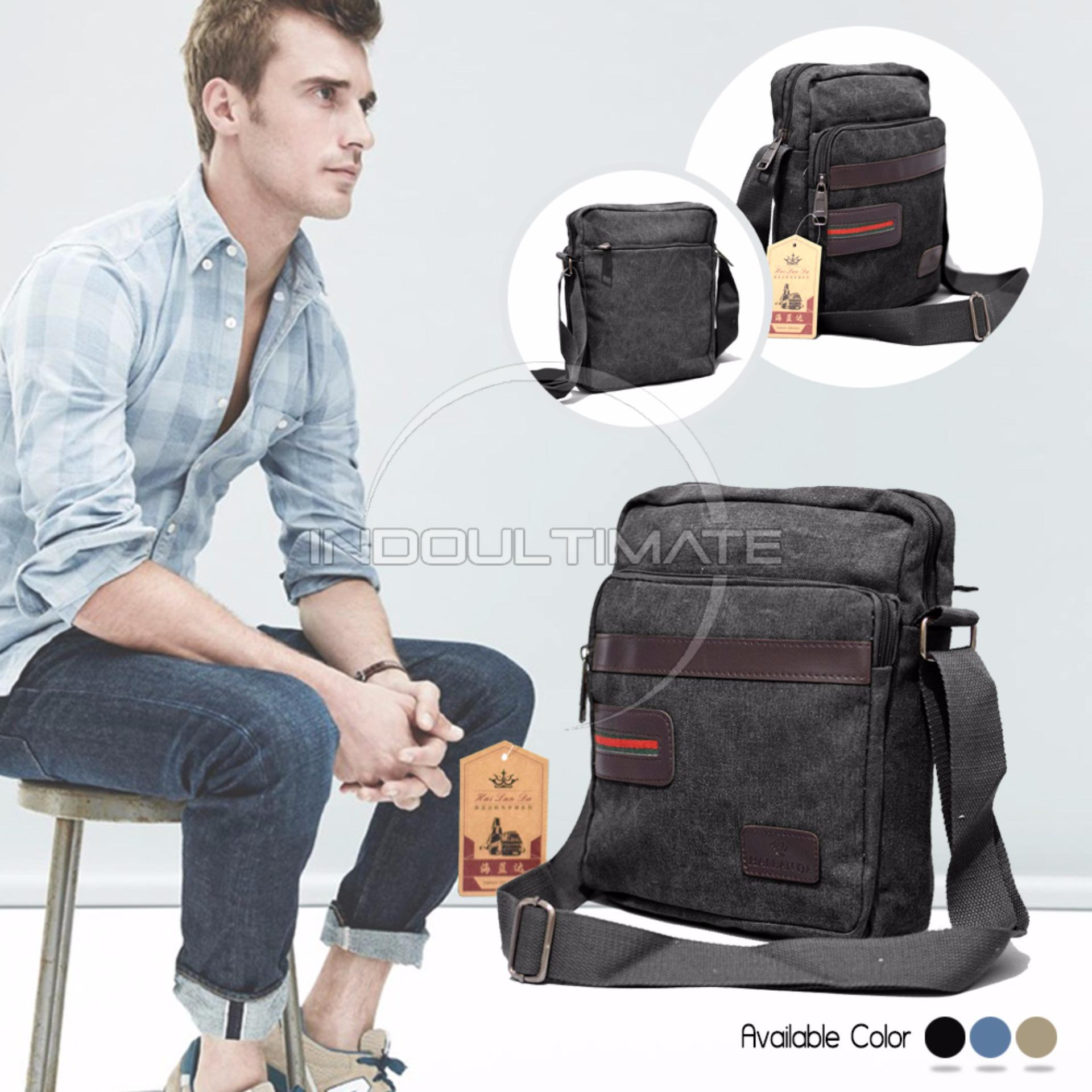 Harga Ultimate Tas Selempang Pria Keren Backpack Sling Bag Shoulder Bag 160812 Black Fullset Murah