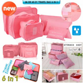 Penjualan Ultimate Travel Bag 6in1 Organizer IM OR 60-01/Organizer Space Koper 1 Set - Baby pink terbaik murah - Hanya Rp45.271