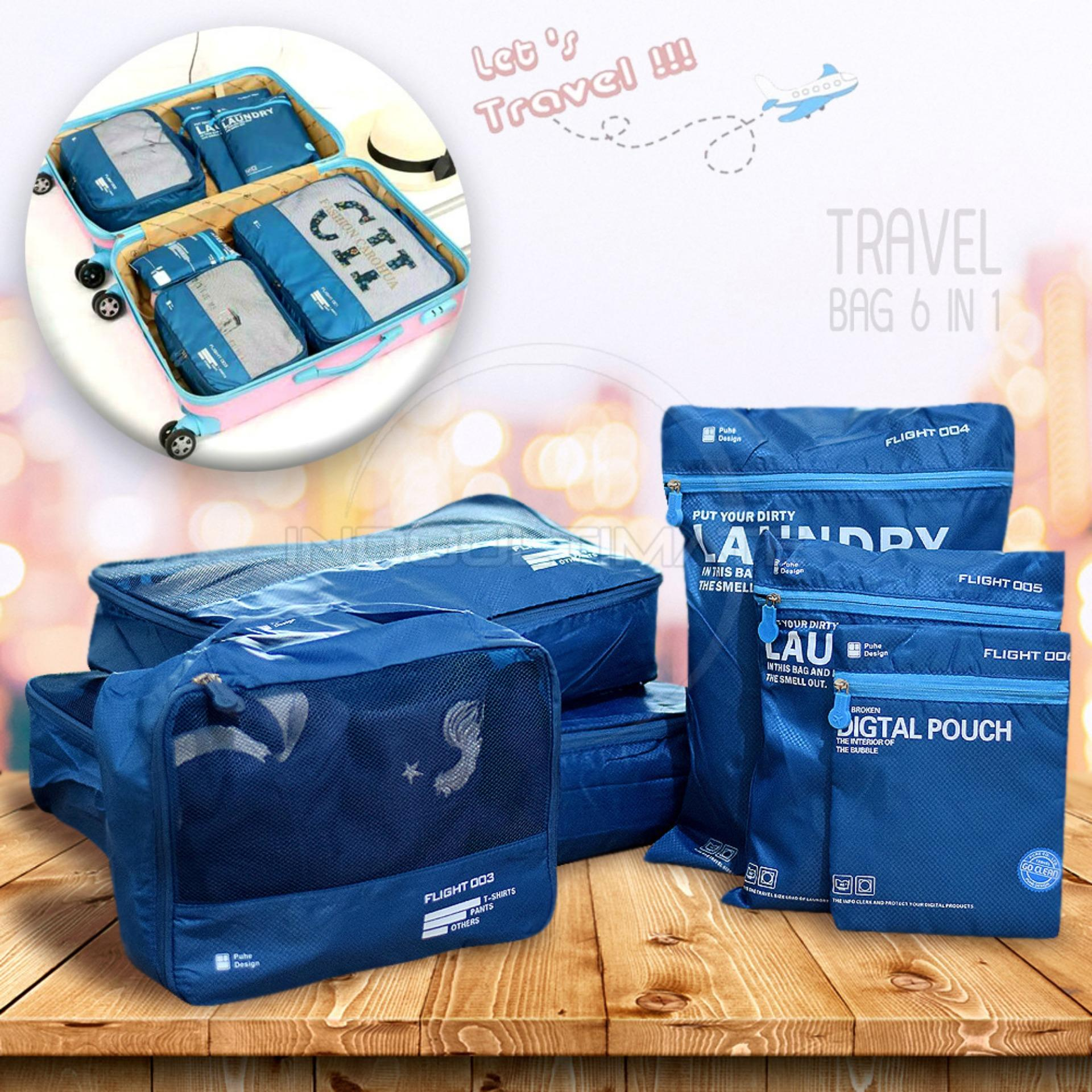 Beli Ultimate Travel Bag 6In1 Organizer Or 60 01 Organizer Space Koper 1 Set Dark Blue Pake Kartu Kredit
