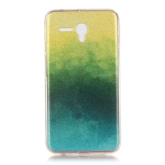 Ultra Slim Fit Soft TPU Phone Back Case Cover For Alcatel OneTouch Pop 3 5.5 inch (Yellow + Green)