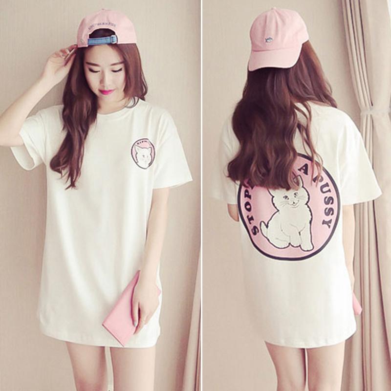 Ulzzang 2017bf Setengah Panjang Model Lengan Pendek T-shirt (Putih) baju wanita baju atasan kemeja wanita