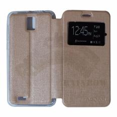 Ume Advan Vandroid i5E Flip Cover Kulit Sintetis With Silicone Interior/ Flip Shell Leather Faux / Sarung Phone Case - Gold Peach