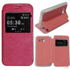 Ume Aimi Flip Cover Huawei Ascend Y5II Leather Case Sarung / Leather Cover / Flipshell / Flip Cover Kulit Huawei Ascend Y5II / Dompet Huawei Y5II / Sarung Huawei Ascend Y5II Kulit Sintetis - Pink / Merah Muda