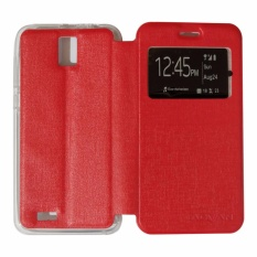 Ume Flip Cover Advan Vandroid i5e Flip Leather Cover Kulit Sintetis With Silicone Interior/ Flip Shell Leather Faux / Sarung Phone Case Advan Vandroid i5e / Flip Cover / Flipshell - Merah