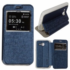 Ume Flip Cover Huawei Ascend Y5II Leather Case Sarung / Leather Cover / Flipshell / Flip Cover Kulit Huawei Ascend Y5II / Dompet Huawei Y5II / Sarung Huawei Ascend Y5II Kulit Sintetis - Biru Tua / Navy