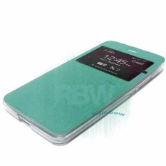 Ume Flip Cover Samsung Galaxy A8 Tosca Green / Leather Case View Samsung A8 / Flipcover Windows View / Flipshell / Wallet Phone Bag / Sarung Case / Case Hp / Dompet Handphone / Casing Samsung A8 - Hijau Tosca