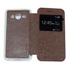 Ume Flip Cover Samsung Galaxy Core 2 G355H Cokelat / Leather Case Samsung Core2 View / Flipcover Samsung G355 Windows View / Dompet Samsung / Wallet Phone Bag / Phone Case Hp / Sarung Case / Casing Samsung Core 2 G355H - Brown