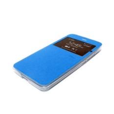 Ume Flip Cover Samsung Galaxy J1 J100 Biru Muda / Leather Case Samsung Galaxy J1 View / Flipcover Samsung J100 Windows View / Dompet Samsung J1 / Wallet Phone Bag / Phone Case Hp / Sarung Case / Casing Samsung J1 - Sky Blue