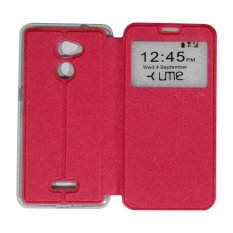 Ume Coolpad Fancy 3 E503 Ukuran 5.5 Inch Leather Case Sarung / Flipshell / Flip Cover Coolpad Fancy 3 / Sarung HP / Sarung Handphone / View - Red