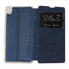 Ume Leather Cover Infinix Hot 2 X510 / Infinix X510 Leather Case Sarung / Flipshell / Flip Cover Kulit / Sarung HP / Flip Cover Infinix Hot 2 X510 / Infinix X510 / Sarung Handphone Kulit Sintetis - Biru Tua / Navy