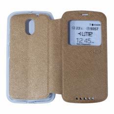 Ume Leather Cover Motorola Moto E3 Power Leather Case Sarung / Flipshell / Flip Cover Kulit / Sarung HP / Flip Cover Motorola Moto E3 Power/ Sarung Handphone Kulit Sintetis - Gold / Emas