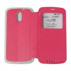 Ume Leather Cover Motorola Moto E3 Power Leather Case Sarung / Flipshell / Flip Cover Kulit / Sarung HP / Flip Cover Motorola Moto E3 Power/ Sarung Handphone Kulit Sintetis - Pink