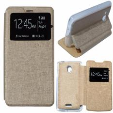 Ume Leather Cover Oppo Joy R1001 Leather Case Sarung / Flipshell / Flip Cover Kulit Oppo R1001 / Sarung HP / Flip Cover Oppo Joy / Sarung Handphone Kulit Sintetis - Gold