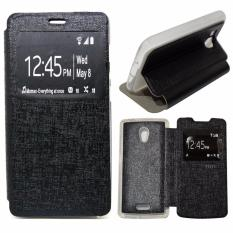 Ume Leather Cover Oppo Joy R1001 Leather Case Sarung / Flipshell / Flip Cover Kulit Oppo R1001 / Sarung HP / Flip Cover Oppo Joy / Sarung Handphone Kulit Sintetis - Hitam / Black