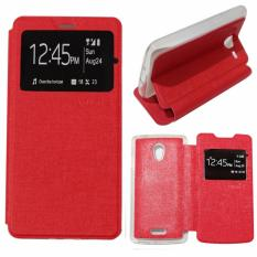 Ume Leather Cover Oppo Joy R1001 Leather Case Sarung / Flipshell / Flip Cover Kulit Oppo R1001 / Sarung HP / Flip Cover Oppo Joy / Sarung Handphone Kulit Sintetis - Red / Merah