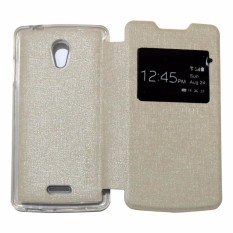 Ume Leather Cover Oppo Joy R1001 Leather Case Sarung / Flipshell / Flip Cover Kulit Oppo R1001 / Sarung HP / Flip Cover Oppo Joy / Sarung Handphone Kulit Sintetis - Silver