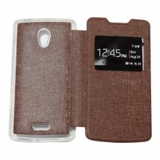 Ume Leather Cover Oppo Joy R1001 Leather Case Sarung / Flishell / Flip Cover Kulit Oppo R1001 / Sarung HP / Flip Cover Oppo Joy / Sarung Handphone Kulit Sintetis - Coklat / Brown