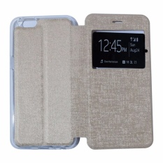 Ume Leather Cover Oppo Neo 7 A33 Leather Case Sarung / Flipshell / Flip Cover Kulit / Sarung HP / Flip Cover Oppo Neo 7 A33 / Sarung Handphone Kulit Sintetis - Gold / Emas