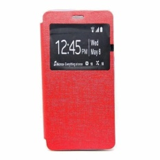 Ume Leather Cover Samsung Galaxy E7 E700 Leather Case Sarung / Flipshell / Flip Cover Kulit / Sarung HP / Flip Cover Samsung Galaxy E7 E700 / Sarung Handphone Kulit Sintetis - Merah / Red