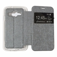 Ume Leather Cover Samsung Galaxy E7 E700 Leather Case Sarung / Flipshell / Flip Cover Kulit / Sarung HP / Flip Cover Samsung Galaxy E7 E700 / Sarung Handphone Kulit Sintetis - Silver