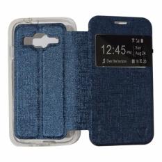 Ume Leather Cover Samsung Galaxy J2 Prime Leather Case Sarung / Flipshell / Flip Cover Kulit / Sarung HP / Flip Cover Samsung Galaxy J2 Prime / Sarung Handphone Kulit Sintetis - Biru Tua / Navy