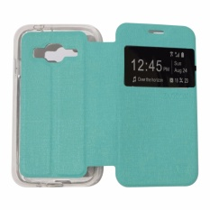 Ume Leather Cover Samsung Galaxy J2 Prime Leather Case Sarung / Flipshell / Flip Cover Kulit / Sarung HP / Flip Cover Samsung Galaxy J2 Prime / Sarung Handphone Kulit Sintetis - Hijau Tosca