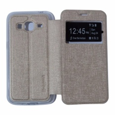 Ume Leather Cover Samsung Galaxy J3 2016 J310 Leather Case Sarung / Flipshell / Flip Cover Kulit / Sarung HP / Flip Cover Samsung Galaxy J3 2016 J310 / Sarung Handphone Kulit Sintetis - Gold / Emas