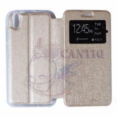 Toko Ume Leather Flip Cover Untuk Advan Vandroid I5C Flip Shell Sarung Case Emas Yang Bisa Kredit