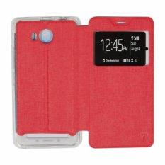 Ume Lenovo A7700 View / Flip Cover / Flipshell / Leather Case / Sarung Case / Sarung HP Lenovo A7700 / Sarung Handphone Kulit Sintetis - Merah