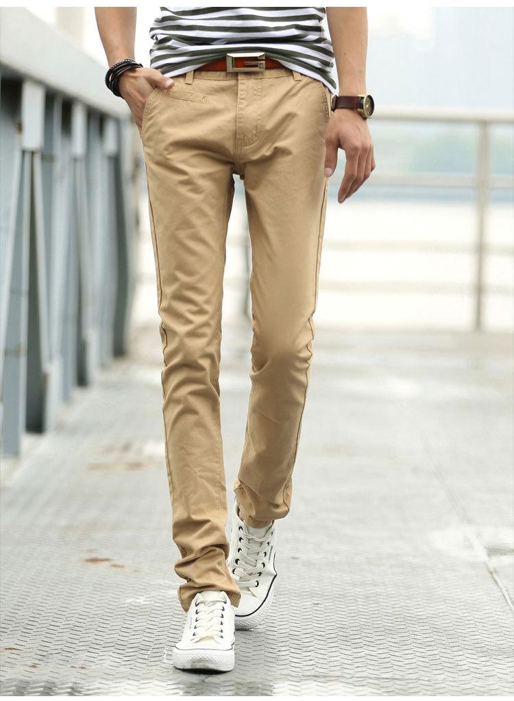 Umen Celana Panjang Kasual Pria Pinggang Sedang Bahan Katun Warna Dasar (Khaki)