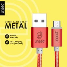 UNEED Nylon Kabel Data Micro USB Metal Quick Charge Fast Charging 2.1A - Original - Red