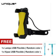 uNiQue Holder Motor UCH-06M With USB Charger Smartphone for Motorcycle - Spion Holder Motor V2 Charger Aki Untuk Vario Mio JUpiter MX Hitam FREE LAMPU USB + KIPAS USB RANDOM COLOR