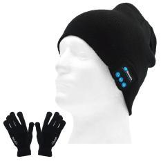 Unisex Musik Sport Nirkabel Bluetooth Tangan Gratis Ponsel Speaker Smart Knit Winter Hat Cap + Sarung Tangan Layar Sentuh Konduktif untuk Cellphone Tablet Komputer-Intl