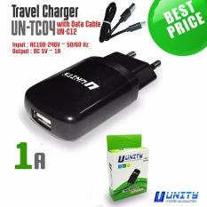 Unity Charger Adaptor UN-TC04 Support Android / BB / Other Smartphones + Free Kabel Micro USB 1 Meter - Hitam
