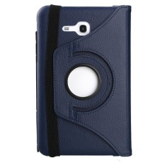 Universal 360 Degree Rotating Leather Stand Case Cover for Samsung Galaxy Tab 3 lite Tab v T116/T110/T111 - Navy