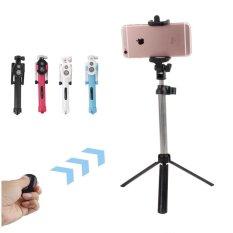 Universal Bluetooth Selfie Stick + Tripod + Shutter Wireless Monopod untuk IPhone 5 6 6 S PLUS Samsung Android- (hitam) -Intl