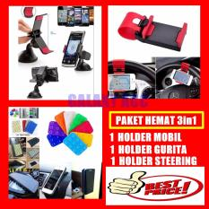 Universal Car Holder Mount Jepit - Penjepit HP Gadget GPS + Bonus Holder Steering + Bonus Holder Tempel Gurita