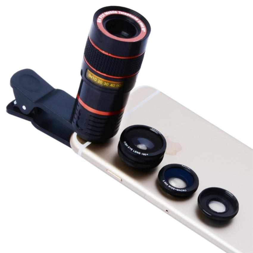 Beli Universal Clip 8X Zoom Telescope Camera Lens Mobile Phone Lense Black Intl Cicil