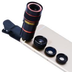 Harga Universal Clip 8X Zoom Telescope Camera Lens Mobile Phone Lense Black Intl Oem Terbaik
