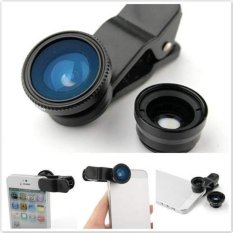 Universal Clip Lens 3 in 1 - Fish Eye 180 + Macro + Wide 0.4x - Hitam