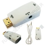 Jual Universal Dongle Converter Hdmi Male To Vga Adaptor Female Plus Audio 3 5Mm Putih Murah