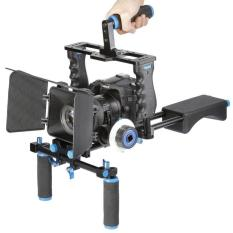 Universal DSLR Camera 5 in 1 Stabilizer Cage, Shoulder Support & Follow Focus - Black