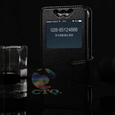 Universal Leather Case Windows Smartphone Ukuran 5,5 Inch - 5,9 Inch Slide Up Case Universal Flipshell / Universal Flipcover / Universal Flip Cover Kulit / Universal Sarung Case / Universal Sarung Handphone - Hitam