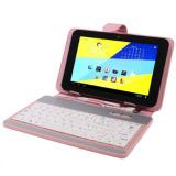 Miliki Segera Universal Leather Case Dengan Usb Keyboard Untuk 7 Inch Tablet Pc Pink