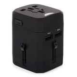 Miliki Segera Universal Loop Travel Adapter 4 In 1 Us Uk Eu Au Plug With 2 5A Usb Port Hitam