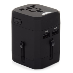 Beli Barang Universal Loop Travel Adapter 4 In 1 Us Uk Eu Au Plug With 2 5A Usb Port Hitam Online