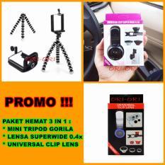 Universal Mini Tripod Gorila / Tripod Mini [ Promo Paket Murah + Lensa Super Wide + Clip Lens 3in1 ]