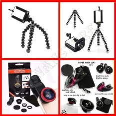 Universal Mini Tripod Gorila Untuk Hp & paket kamera + Lensa Super Wide + Clip Lens 3in1 ] [kenanstore]