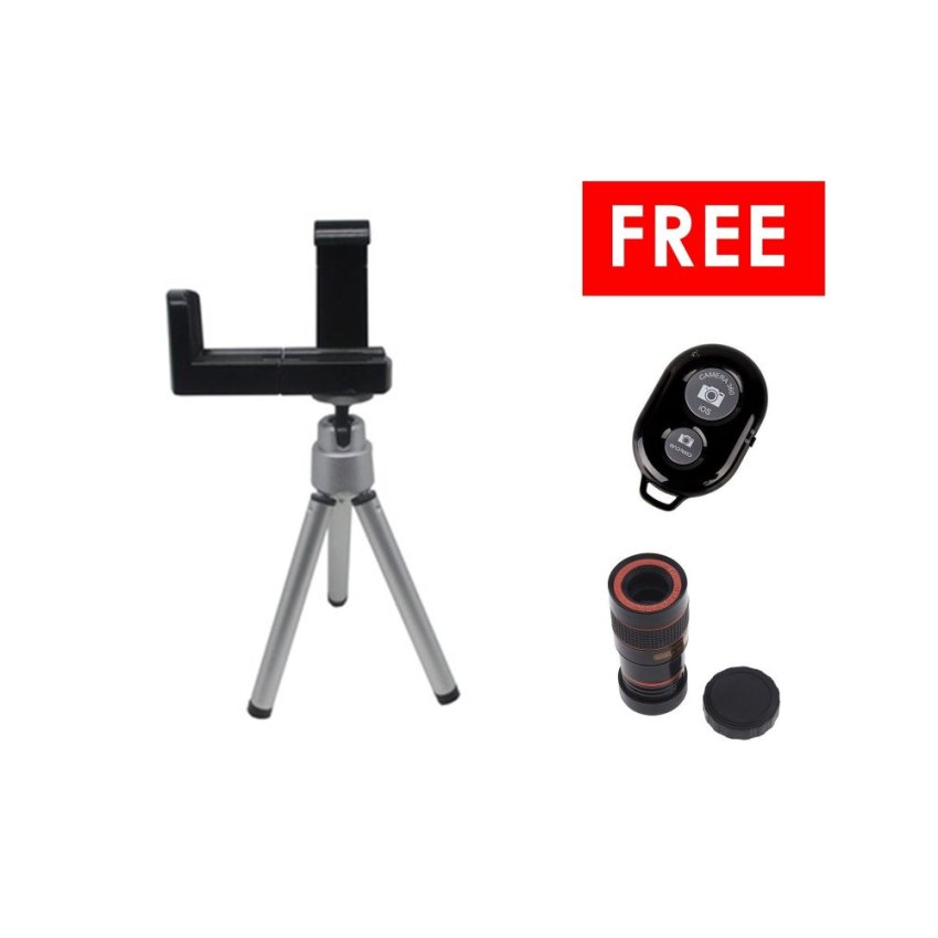 Situs Review Universal Mini Tripod Holder L Silver Free Ashutb Shutter Hitam Tele Lens Universal Teleschop Lens Clip 8X Zoom
