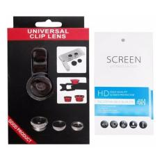 Universal Mobile Phone Case Lenses 3 in 1 Wide Angle Macro Fish Eye Lens + 1 Clear Screen Protector